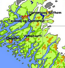 Map that shows the location of the Greenlandic Arboretum